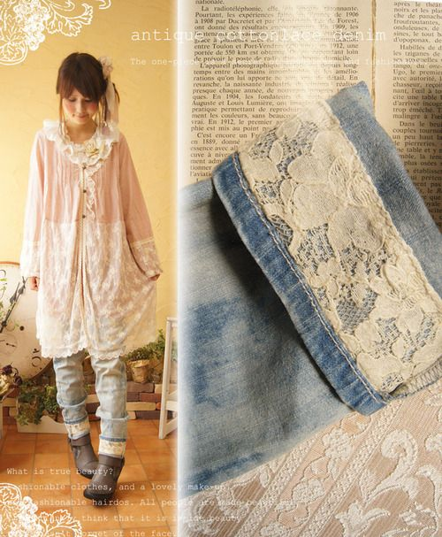 Add antique lace to the cuffs of your jeans. Notice that the lace is added to the underside and then the pant leg is folded up.  Doing this, you can alter a bunch of pants without having to show their altered nature when you aren't in the mood.  An easy DIY!