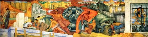 Fermín Revueltas, Alegoría de la producción, 1934, 11.71 x 3.67 m., Centro de las Artes II del Parque Fundidora, Monterrey.  El gobierno de Nuevo León llegó a un acuerdo para que el mural permanezca en la ciudad durante 25 años.