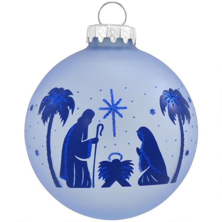 Holy Family With Angel Hair Glass Ornament: Holy Family Blue Glass Ornament $8.99