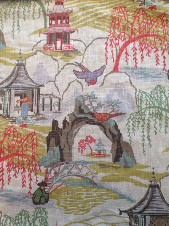 Asian Garden Spring Fabric, Upholstery Fabric By The Yard, Modern Toile    Robert Allen Asian Fabric Part 18