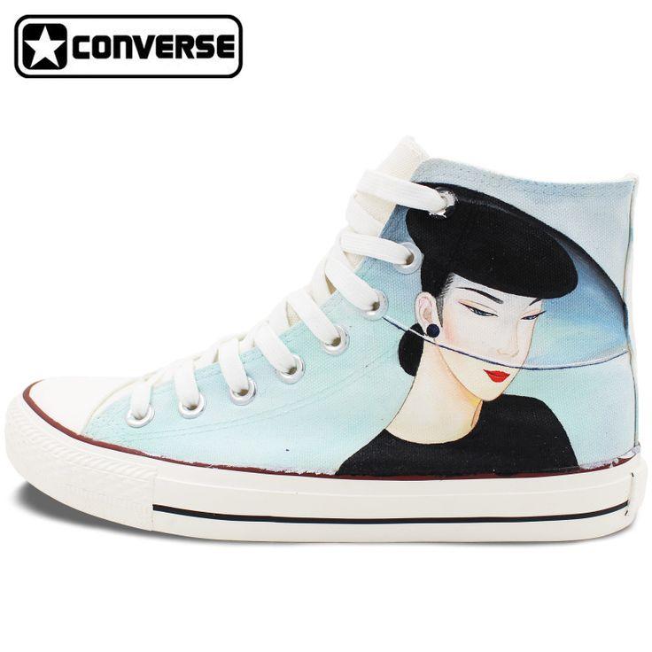 Diseño Original Pintado A Mano Zapatos Converse Clásicos Hermosa Señora High Top Zapatillas de Lona Únicos Regalos De Navidad para Hombres Mujeres