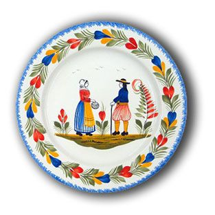 Quimper faience--French folkart. Initially featured rustic blue on white designs on tin-glazed earthenware objects, traditionally painted with elements depicting French country life.