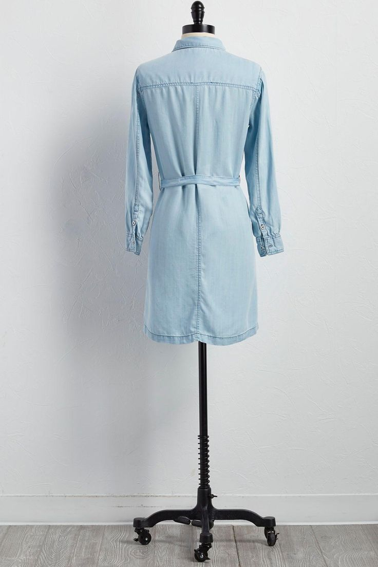 Versona | Belted Chambray Shirt Dress