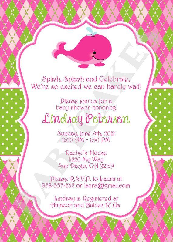 Preppy Whale Baby Shower Invitation Girl  DIY Print by jcbabycakes, $12.00