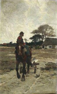 Auf dem Weg zum Felde by Frans van Leemputten