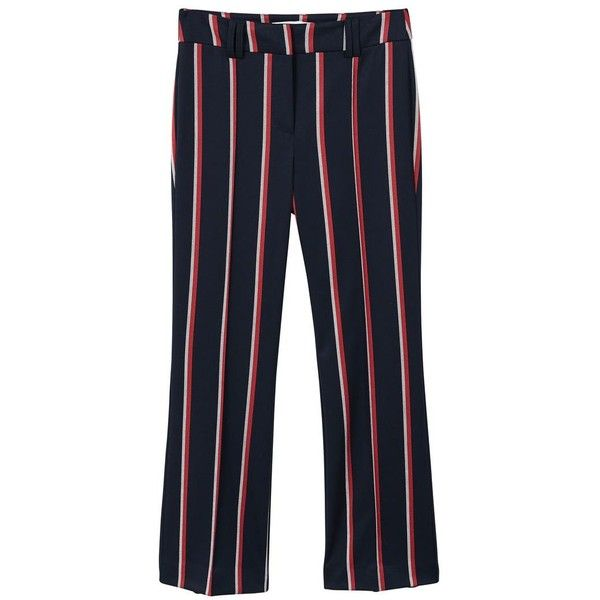 Straight Striped Trousers ($51) ❤ liked on Polyvore featuring pants, stripe pants, zip pants, mango trousers, blue trousers and blue stripe pants