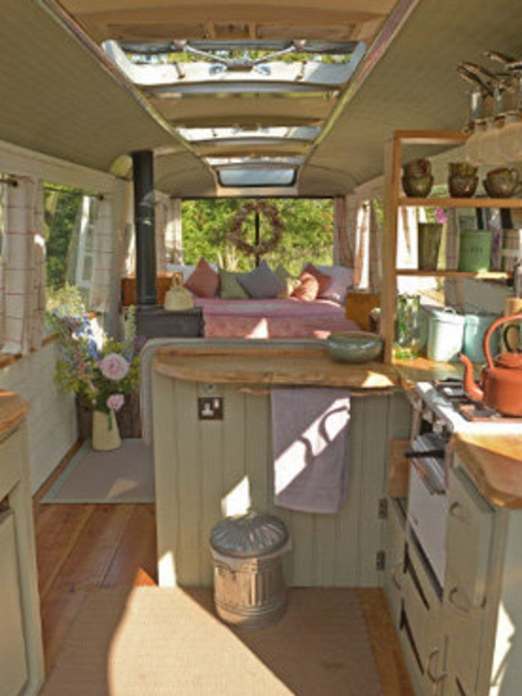 Love this vintage bus converted into a home. Great idea for a little guest house.
