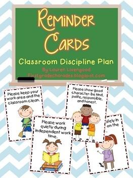 Reminder Cards {Classroom Discipline Plan} $3