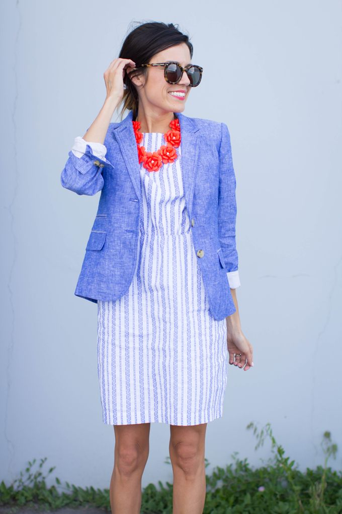 chambray + bold necklace for a cute casual look.