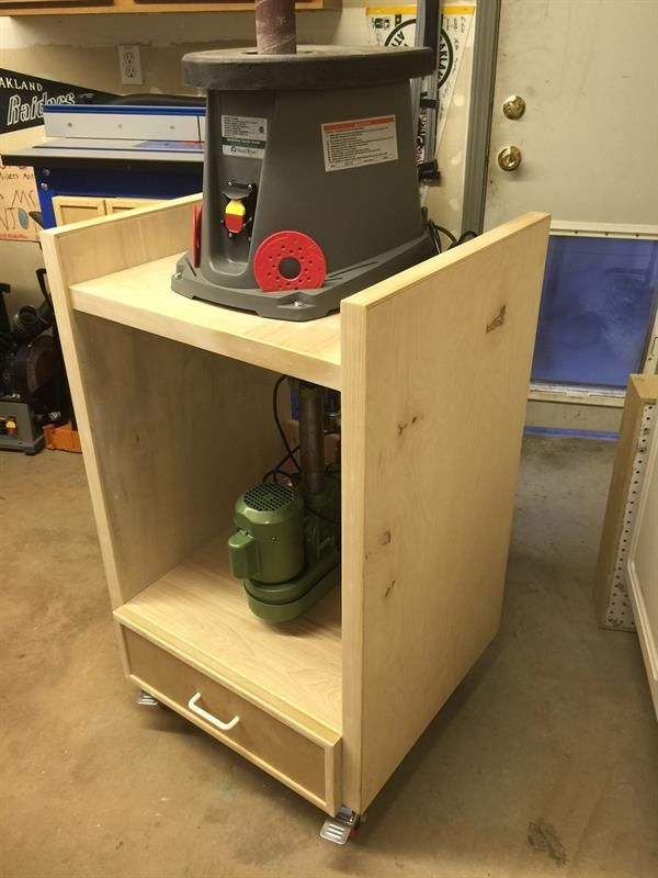 This is a flip top bench that holds two pieces of equipment in one handy place. Gets two items such as bench top drill press and orbital sander off your work bench.Drawings are not professional by any means. Double check ALL measurements and correct them for your tool sizes before you begin.