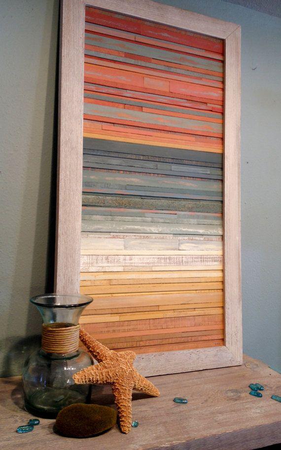 Costeras Atardecer - recuperado de madera arte  Por ahorro de madera desechable de ayer y pensando en la salud de nuestro planeta por los acabados que