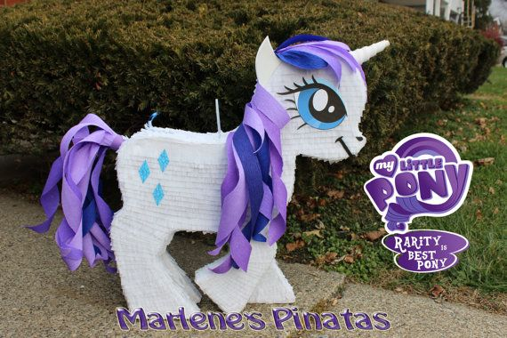 Complete your My Little Pony Birthday Party. with this piñata...! Hablo español...! This pinata is 27 inches high, Holds 5-6 lbs. of candy. Candy is not included. She Is Perfect for Pictures and can be used as a centerpiece for the cake table. I can make: Fluttershy, Pinkie Pie, Rainbow Dash and Rarity, Twilight sparkle Princess Celestia: https://www.etsy.com/listing/230315603/my-little-pony-princess-celestia?ref=listings_manager_grid…