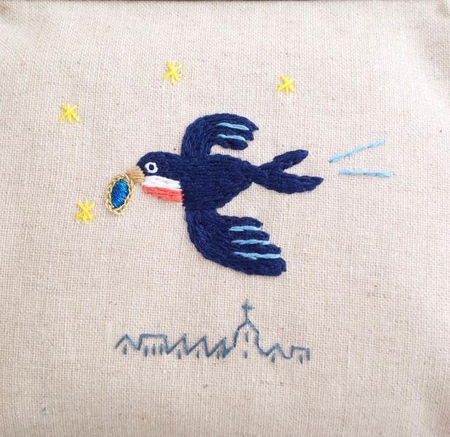 「幸福な王子」ツバメの刺繍ポーチ