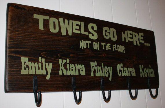 Towel holder/hanger for children with hooks by RyAngelsCreations, $40.00