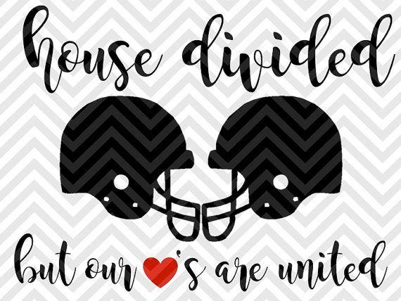 House Divided But Our Hearts Are United Football Season Fall SVG file - Cut File - Cricut projects - cricut ideas - cricut explore - silhouette cameo projects - Silhouette projects by KristinAmandaDesigns