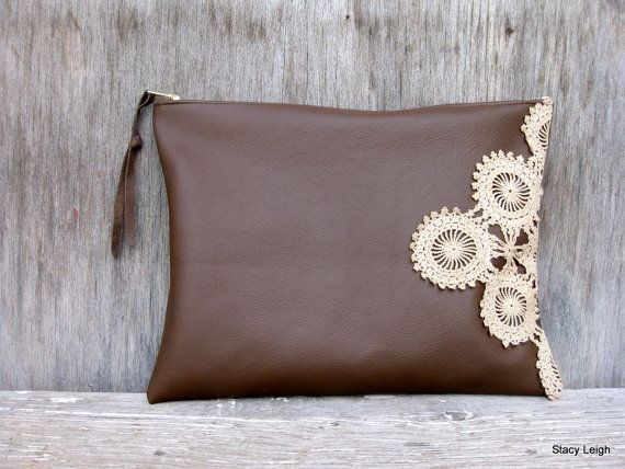 Leather and Lace Clutch Bag in Chocolate Brown with Vintage Ecru Lace by Stacy Leigh Ready to Ship