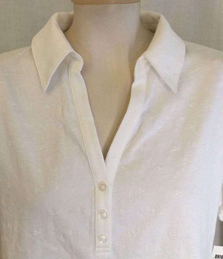 Karen Scott Womens White Polo Shirt Short Sleeve Floral Embroidered Top Size L  #KarenScott #PoloShirt #Casual