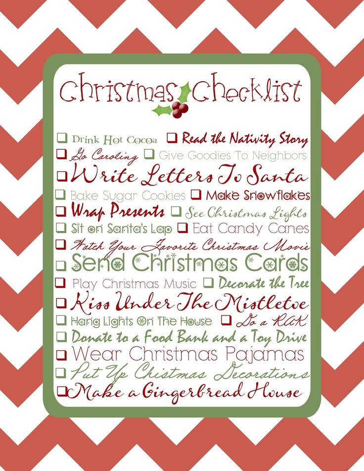 The 25+ best Christmas checklist ideas on Pinterest Holiday - free printable christmas lists