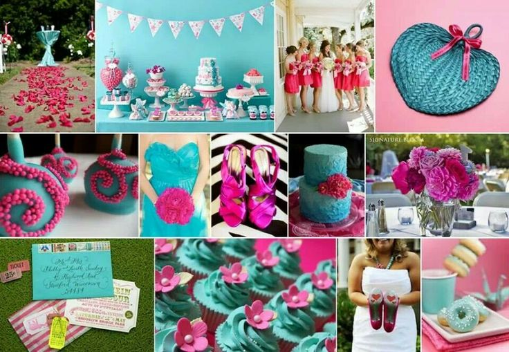 Teal & Hot Pink: Pink Turquoi Wedding, Wedding Colour, Hot Pink And Blue Wedding, Teal Wedding, Teal Green, Teal Blue And Hot Pink Wedding, Wedding Theme, Neon Pink, Colour Schemes
