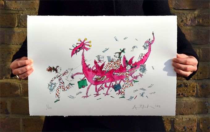 Quentin Blake's 'Illustration Creature' in an edition of 100. This giclée print is supplied on 300g Somerset Satin paper with a torn edge, signed and embossed, un-mounted and un-framed, in cardboard tubes.329 mm x 483 mmCopyright: © Quentin Blake