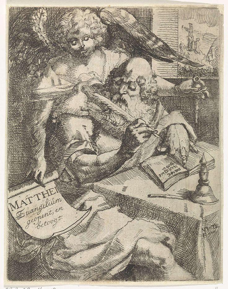 N. van Til   Matteüs de evangelist, N. van Til, Jasper Goris (wed.), Dirk Goris, 1686   De evangelist Matteüs schrijft zijn evangelie aan een tafel. De engel geeft aanwijzingen. Door het venster is de kruisiging van Christus te zien.