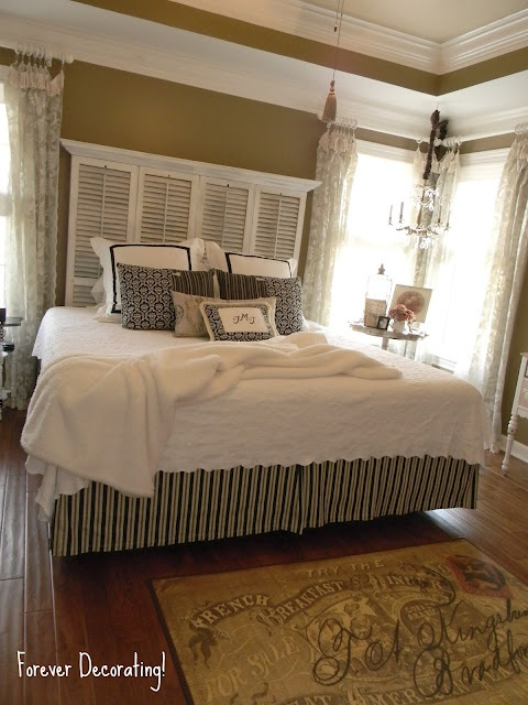 Cool shutter headboard by Forever Decorating & love the wall color and the  molding and shelf
