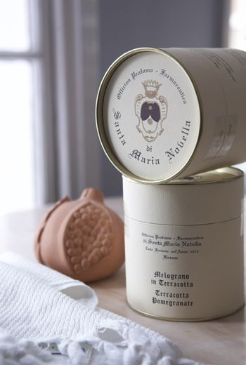 FROM ITALY WITH LOVE The handcrafted fragrant terracotta pomegranate from Santa Maria Novella...heaven!