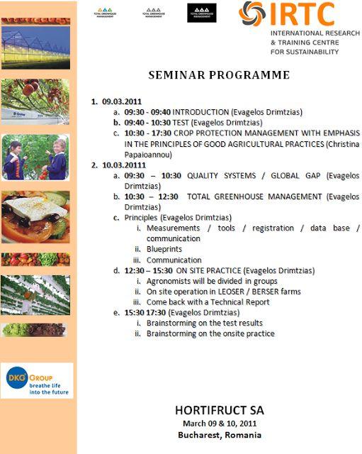 IRTC : Seminar on Total Greenhouse Management - Hortifruct SA - 09-10/03/2011 - Romania