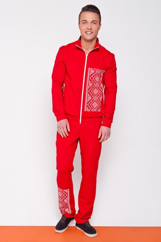 Men's sweat suit with embroidery design. Red
