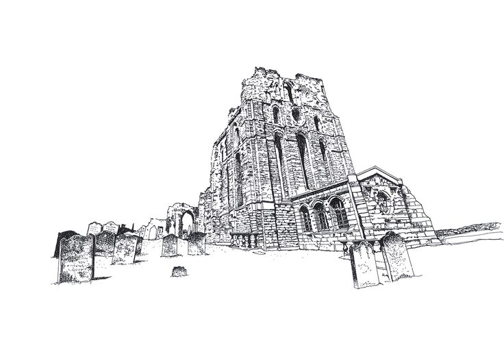 Tynemouth Priory Pen and Ink