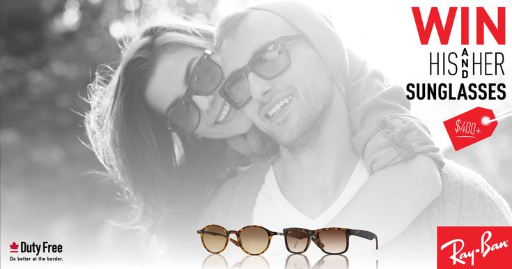 Enter to win Sarnia Duty Free's contest to win TWO pairs of unisex Ray Ban sunglasses! Prize valued over $400! No purchase necessary. Just click to enter!
