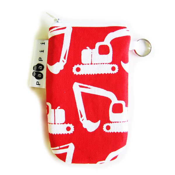 PaaPii Design - Kännykkäpussi Kaivurit cotton canvas mobile phone pouch