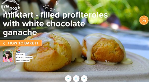 Milk tart filled profiterroles