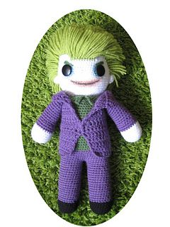 #Amigurumi Joker by Eden Dintsikos - This pattern is available as a free Ravelry download. So first of all to be able to make this doll you'll need to know the basics of how to crochet. If you have more questions, don't hesitate to contact me!  For more information, see: http://www.youtube.com/watch?v=VMmopg0vkE0