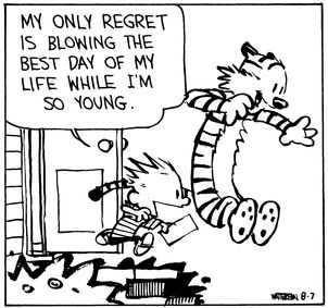 calvin and hobbes quote of the day da my only regret is blowing
