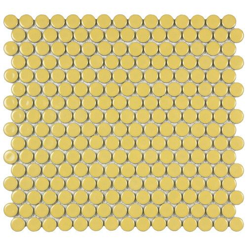 """EliteTile Penny 3/4"""" x 3/4"""" Porcelain Glazed and Glossy Mosaic in Vintage Yellow"""