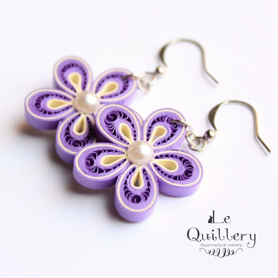 Quilling Jewelry  Violet Flower Paper Quilled by LeQuillery, $15.50