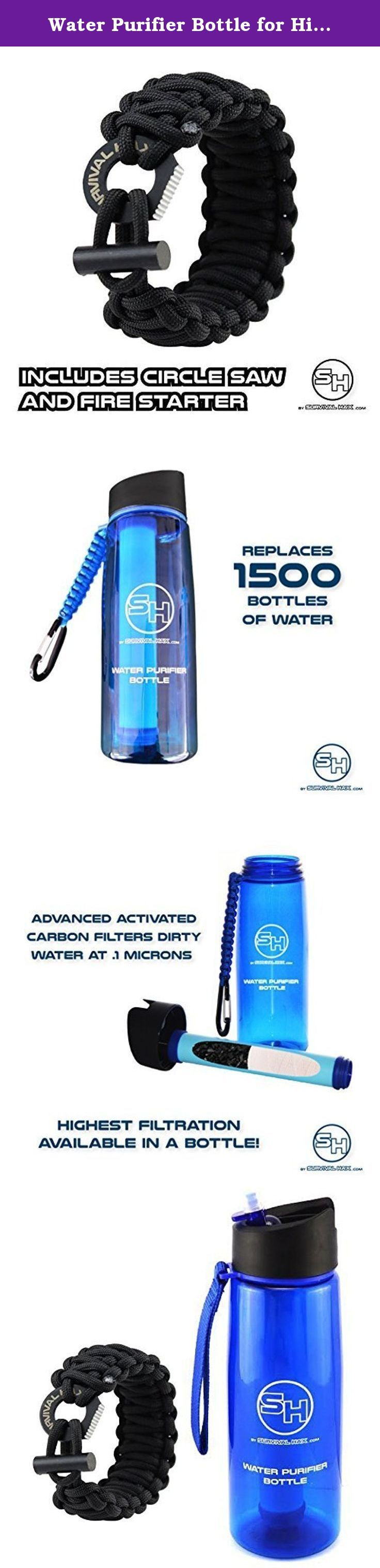 Water Purifier Bottle for Hiking, Survival, Camping, Backpacking - Paracord Travel Strap - Advanced Filter Straw - BPA Free. If you made it this far, you're looking for one thing. The best water bottle filter and purifier on Amazon. Congratulations, you found it. • Are you in to camping, hiking, and backpacking? • Are you traveling out of the country? • Are you looking for something that can filter regular tap water? • Are you researching equipment for your bug out bag, prepping, or...