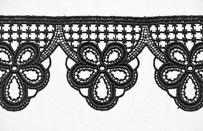 Plauener Spitze Meterware Schwarze Spitze Polyester 8 cm