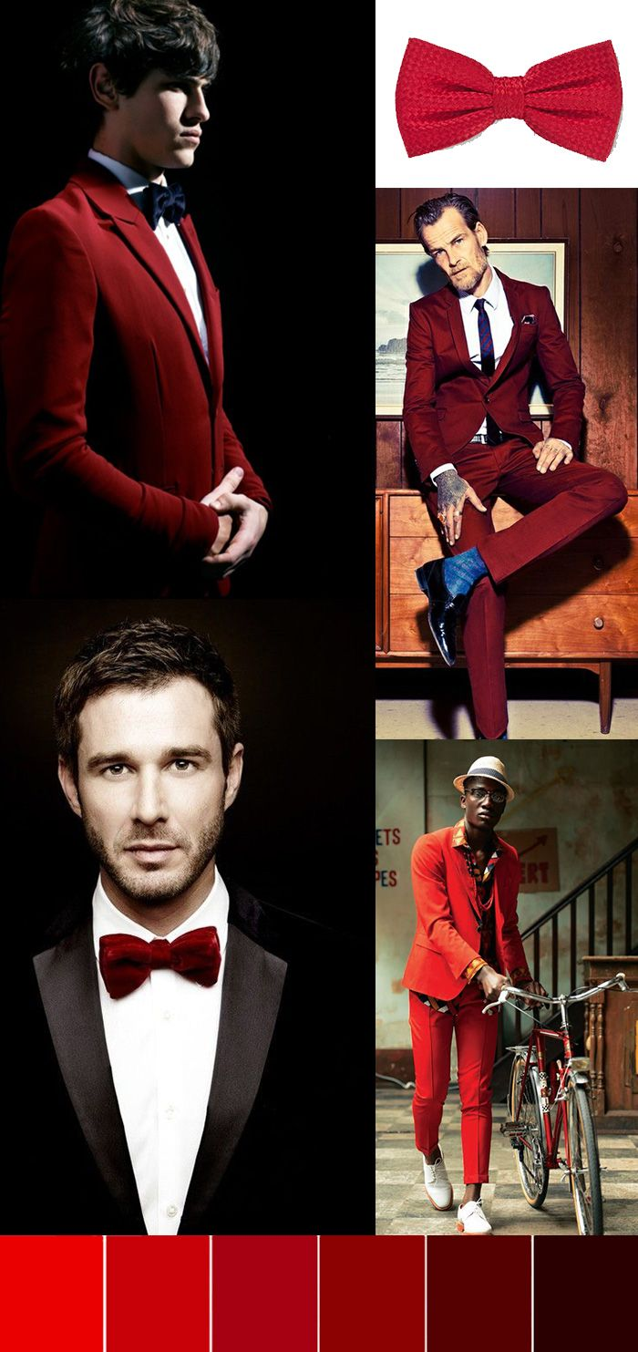 Red menswear pieces for groom and groomsmen. Red bow ties, red dinner jackets, red socks, and more. Get inspired to wear some red accessories!