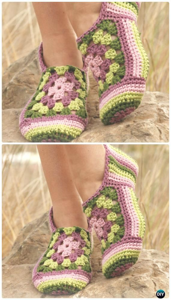 Crochet Granny Rose Slippers Free Pattern - Crochet Women Slippers Free Patterns