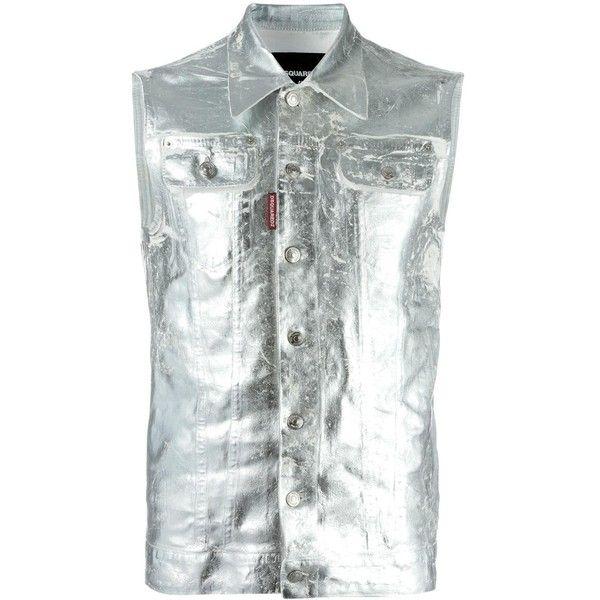Dsquared2 Metallic Sleeveless Denim Jacket ($358) ❤ liked on Polyvore featuring men's fashion, men's clothing, men's outerwear, men's jackets, mens sleeveless jacket, mens military style jacket, mens metallic jacket, mens sleeveless denim jacket and mens military jacket