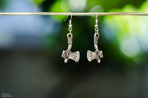 Viking axe earrings  pagan earrings by VictoriaEquinox on Etsy
