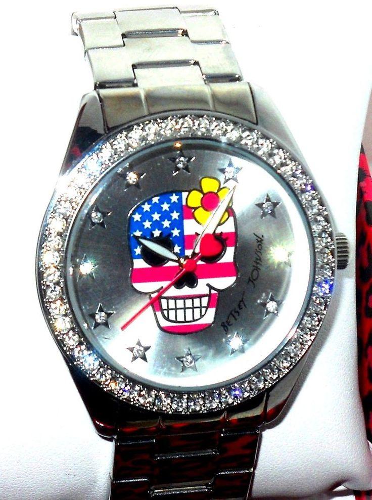 Betsey Johnson Crystal Bezel Skull Patriotic Silver BOYFRIEND WATCH USA SELLER #BetseyJohnson #Fashion