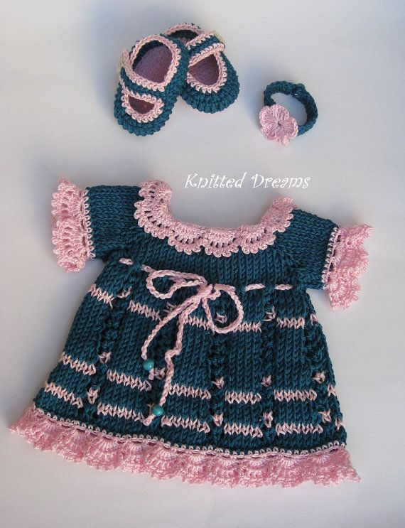 Waldorf Dolls Clothes Set of Three Hand Knitted Dress by tatocka, $54.00