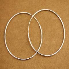 [ 50% OFF ] 925 Sterling Silver 1.6Mm Circle Huggie Hoop Endless Earrings 60Mm A1946