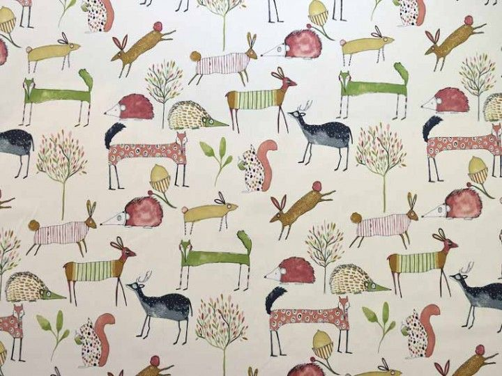 Prestigious Textiles Oh My Deer 5008/324 berry fabric<br />We recommend a sample of this fabric if colour is important to you as colours on different screens may vary.