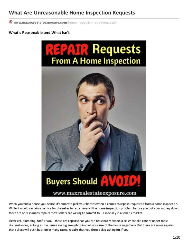 When purchasing a home it makes sense to have a thorough home inspection. Once the home inspection is completed you will have an opportunity to ask the seller for a concession or repair. But What Are Unreasonable Home Inspection Repairs http://www.slideshare.net/massrealty/what-are-unreasonable-home-inspection-repairs
