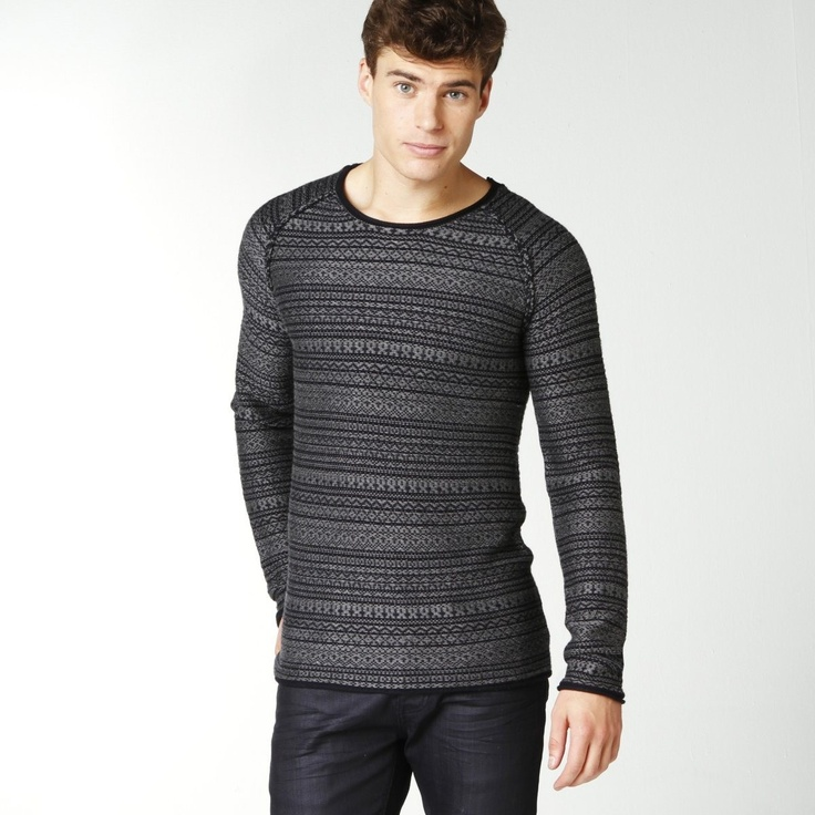 Soft Grey | Pullover | Jacquard woven upside down