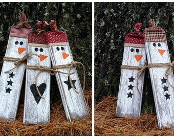 Rustic Wooden Snowman Christmas Decor Block Snowman